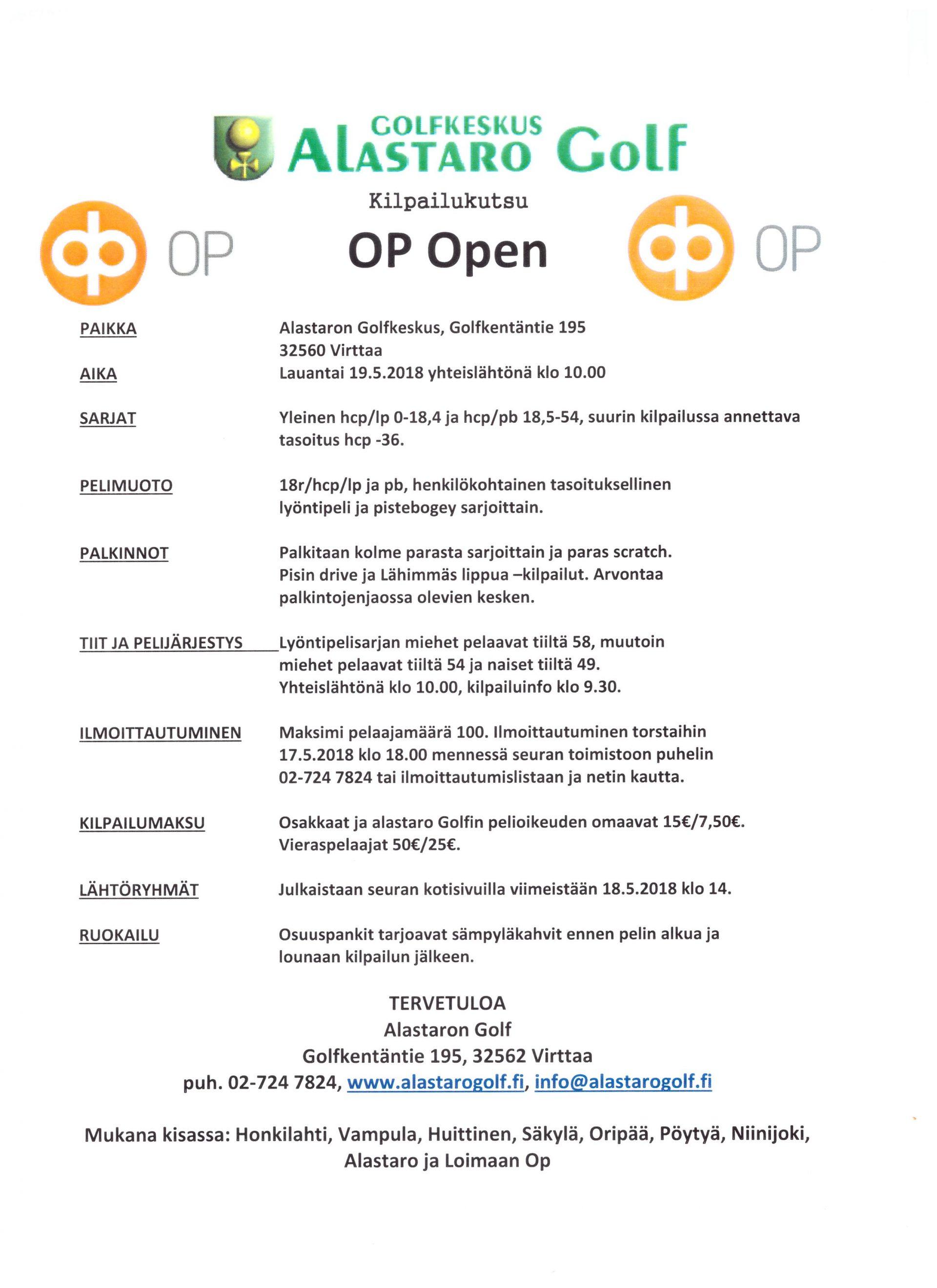 Kilpailukutsu - Osuuspankki Open 19.5.2018 - Alastaro Golf